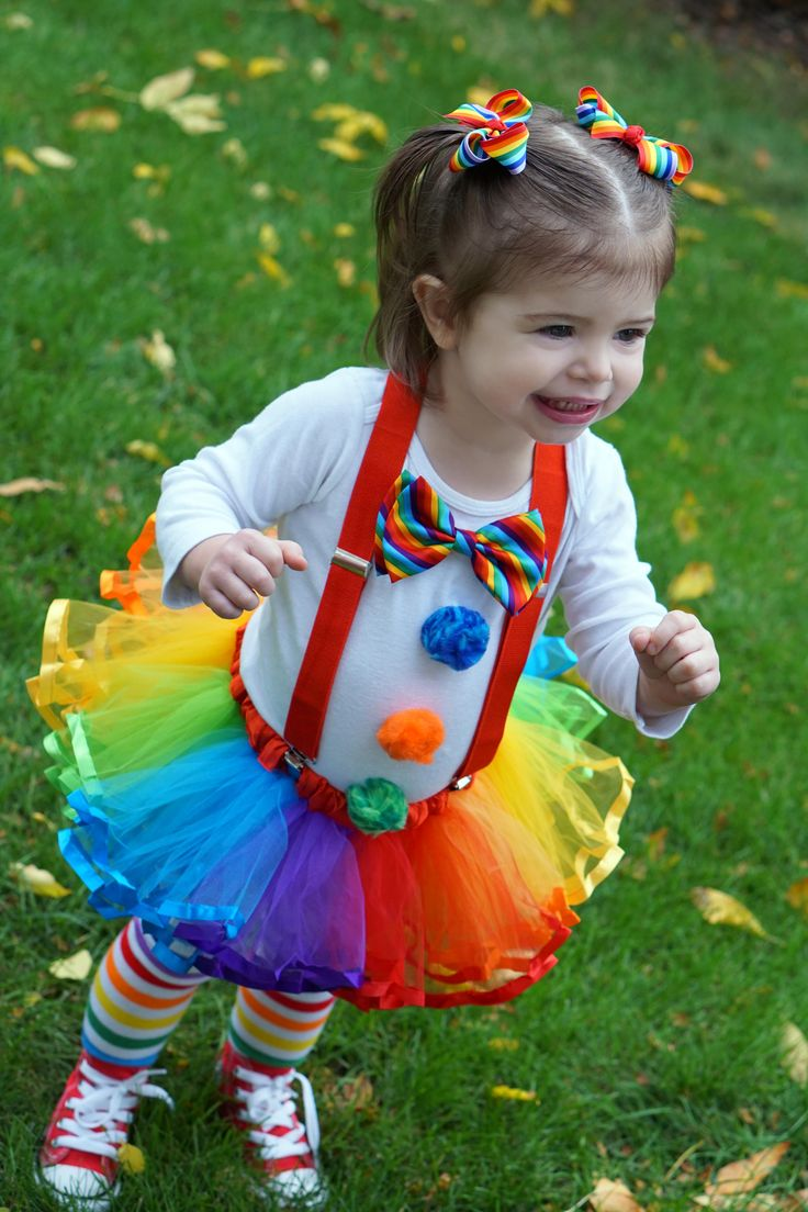 Toddler Clown Halloween Costume! Red Converse shoes, rainbow tights, red suspenders, rainbow tutu. <3