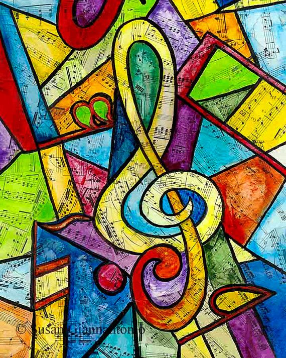 Yellow G Clef  large 20 x 16 music art print by ArtAndStrings, $55.00