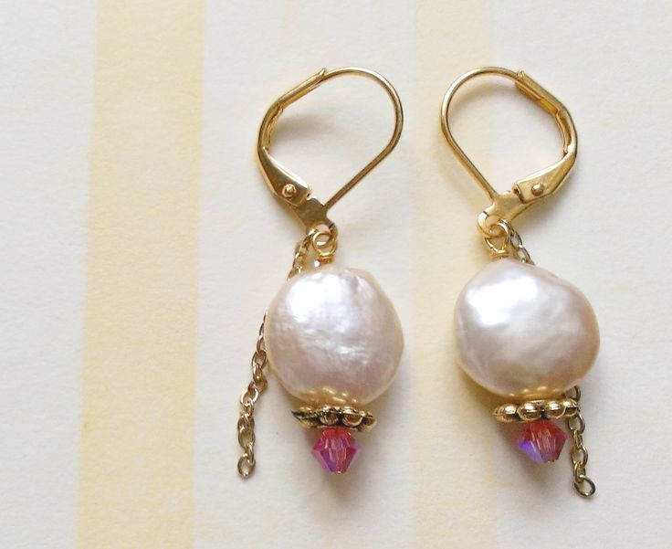 Custom Bridesmaid Earrings: Costume gold, Swarovski crystals, + freshwater pearls. www.aebumble.com