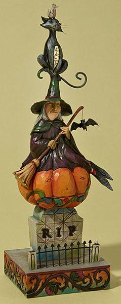 4022899 Stacked Halloween Scene with Witch, Black Cat, Pumpkin and Tombstone by Jim Shore Heartwood Creek Enesco