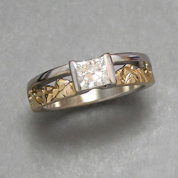 Mountain Engagement Rings 1 2 14kt Two Tone Twin Peaks