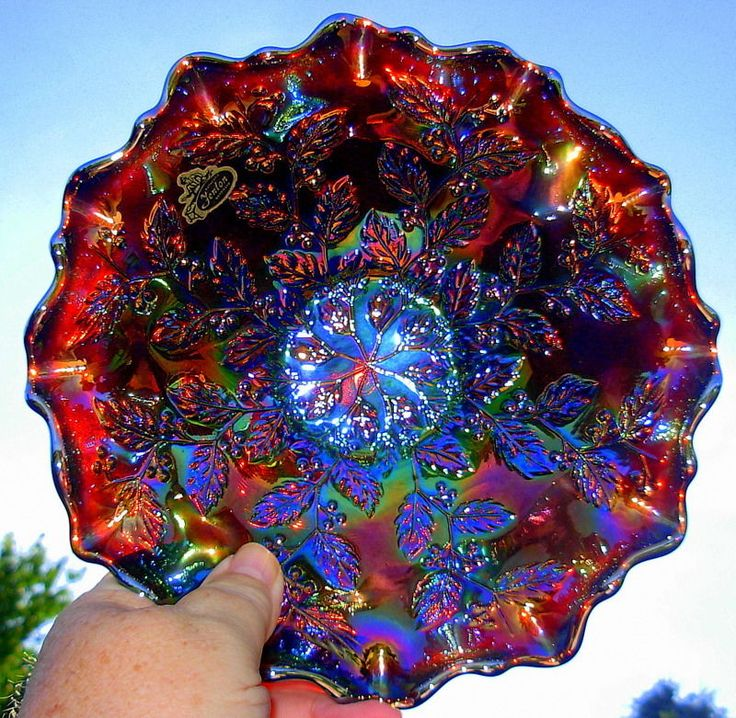 Spectacular Vintage Fenton Red Holly Carnival Glass Ruffled Bowl - Crazy Color!!