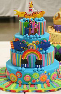 beatles!The Beatles, Submarines Cake, Yellow Submarines, Beatles Cake, Amazing Cake, Rainbows Cake, Awesome Cake, Wedding Cake, Birthday Cake