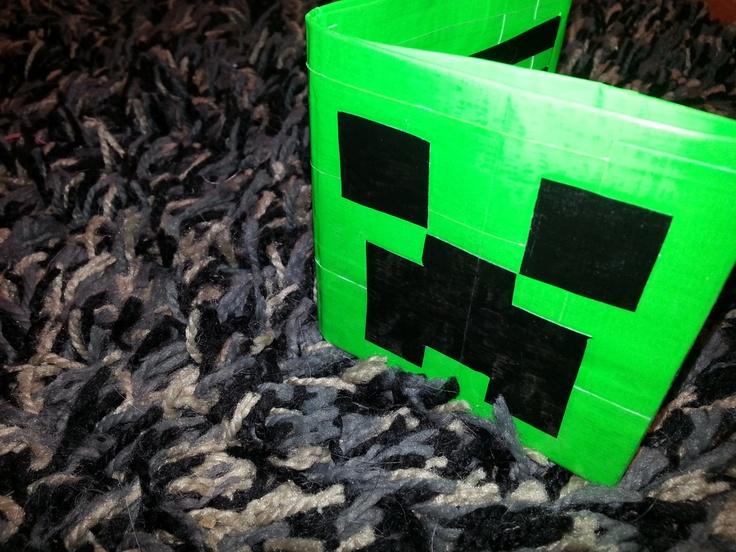 Duct Tape Wallet - Minecraft - Creeper - I.D. Slot. $10.00, via Etsy.