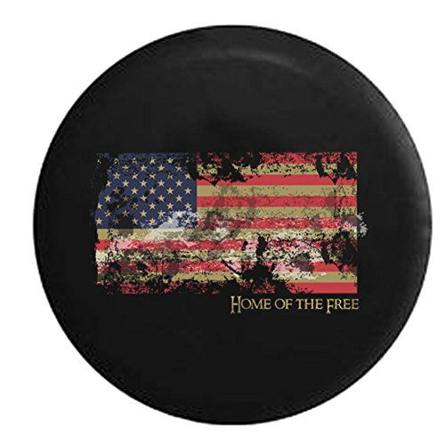 Jeep Vintage Distressed American Flag Home of the Free Spare Tire Cover