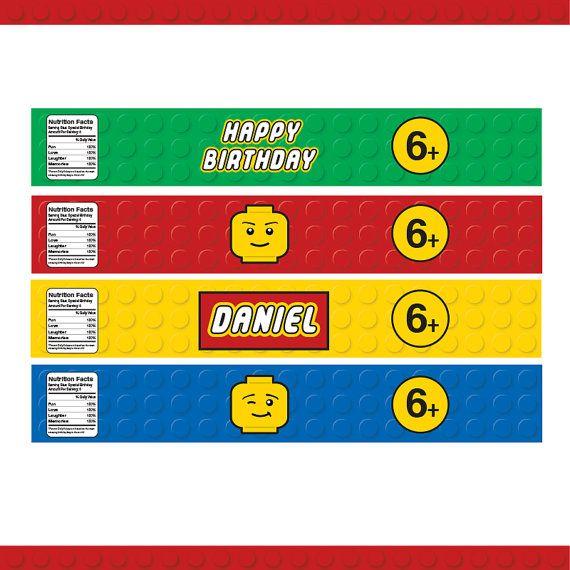 Building Block Party Water Bottle Labels - 4 Designs / Printable / Party Decoration / Food Labels