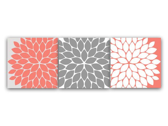 Home Decor Wall Art, INSTANT DOWNLOAD Coral and Grey Flower Burst Art, Bathroom Wall Decor, Coral Bedroom Decor, Nursery Wall Art - HOME65