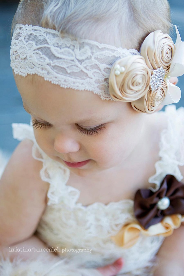 Vintage Headband/Child Headband /baby Girl Headband /Headband/ivory/flower girl /champagne wedding /birthday /photo prop. $14.95, via Etsy.
