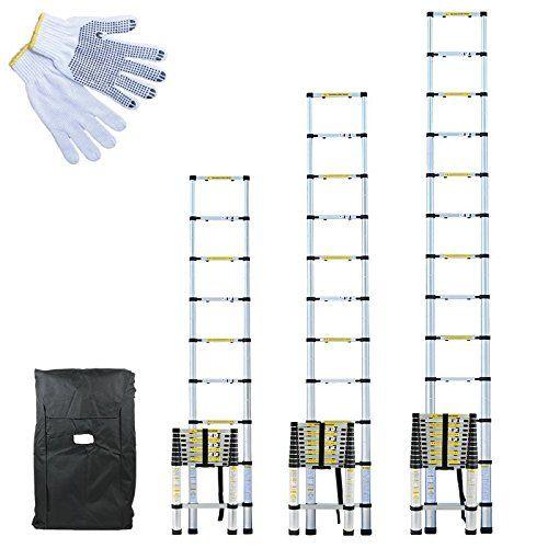 Linxor France ® Échelle Télescopique Pro 2.60m, 3.20m ou 3.80m en Alu + Housse de Transport et gants de maintien – Norme EN131: MARQUE…