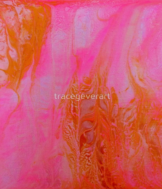 Pink and Gold Abstract Acrylic Painting by Tracey Lee Art Designs