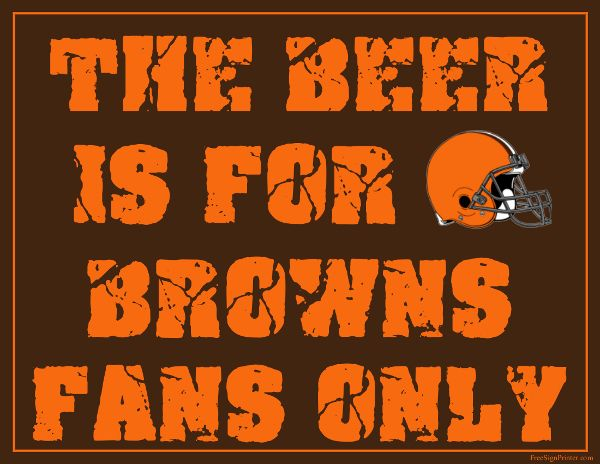 Free Printable Cleveland Browns Man Cave Sign