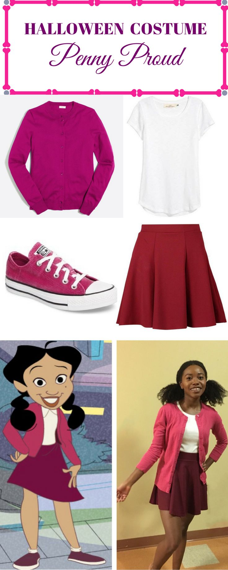 Looking for an inexpensive and fun Halloween costume that will take 20 somethings back to their childhood. Dress up as Disney Channel's Penny Proud from the Proud Family. | Halloween costumes | Halloween costumes for women | natural hair styles | shop this look