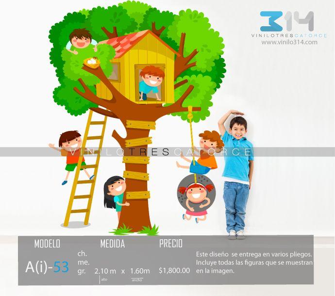 vinilos decorativos rboles infantiles sticker decorativo casa del rbol nios jugando escalera
