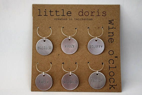 Wine O'Clock wine charms hand stamped wine glass charm
