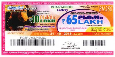 Today's Lottery Result : 11/12/2016 POURNAMI (RN-266) : Kerala Lottery Result Today: Bhagyanidhi Lottery Prize Structure