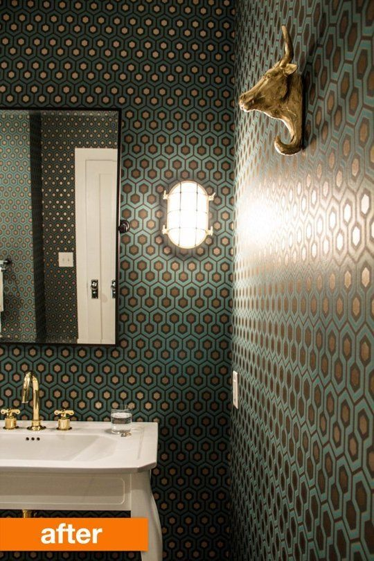 Before & After: From Boring Bathroom to Bold! Professional Project | Apartment Therapy Cole & Son wallpaper
