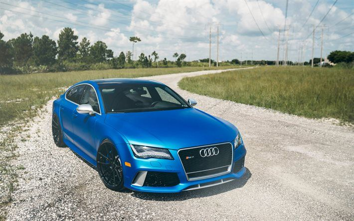 Audi RS7 Sportback, 2016 cars, offroad, blue rs7, Audi