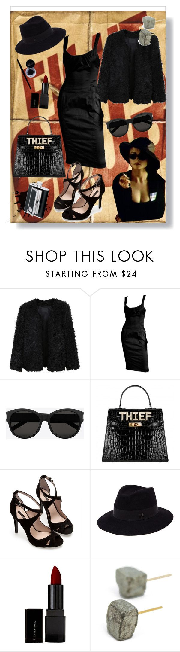 """""""#197 Marla Singer"""" by fufuun ❤ liked on Polyvore featuring LE3NO, Tom Ford, Yves Saint Laurent, Zara, Maison Michel, Illamasqua, SP Black, women's clothing, women's fashion and women"""