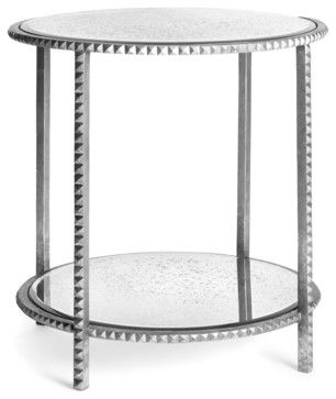 Round Silver Leaf Studded End Table With Antique Mirror Contemporary Side  Tables And Accent Tables