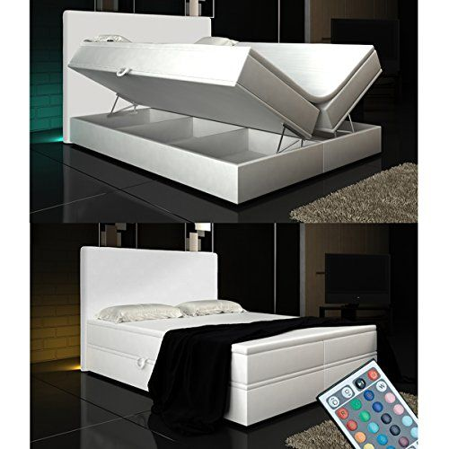 Boxspringbett Weiß Lift 140x200 inkl. 2 Bettkasten Hotelbett Bett LED Rio Lift