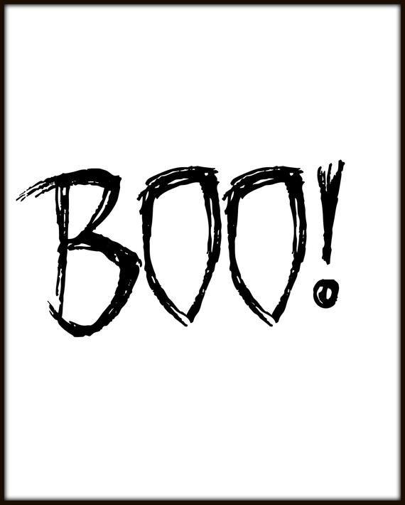 Boo Print Printable Halloween Decor Scary Typography Halloween Decorations Typography Print