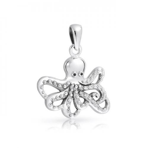 Bling Jewelry Oxidized 925 Sterling Silver Nautical Antique Octopus Pendant