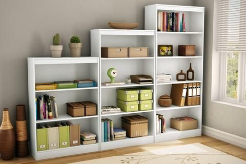 This contemporary style tall white bookcase Features 5 open, practical and accessible storage spaces, separated by 1 fixed shelf and 3 adjustable shelves