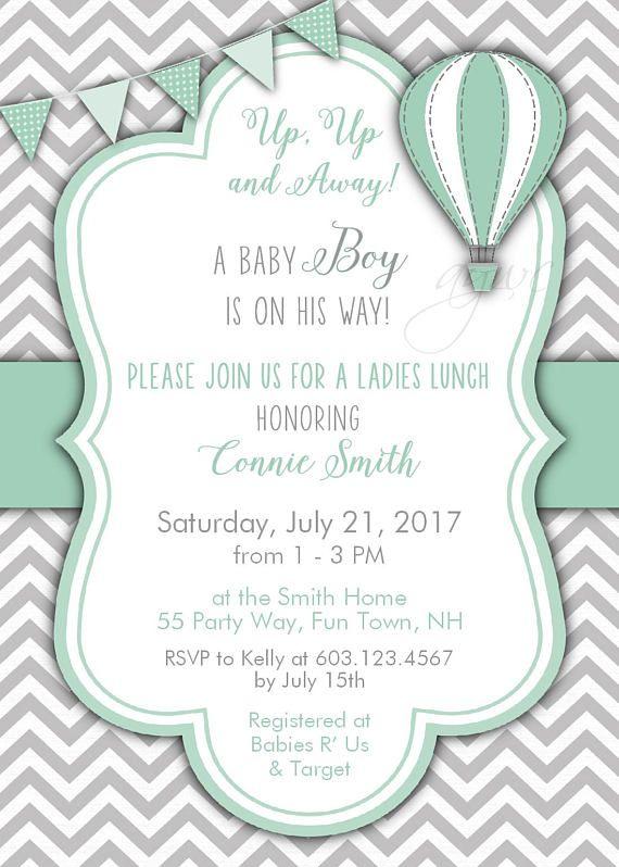 Hot Air Balloon Baby Shower Invitation Gender Neutral Etsy Hot