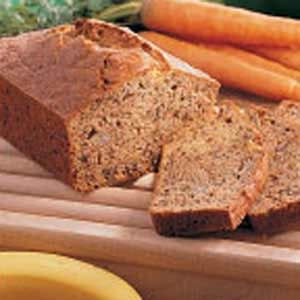 Carrot Banana Loaf.  Made this this afternoon but used whole wheat flour and applesauce for oil.  Will use honey instead of sugar next time. Delicious!
