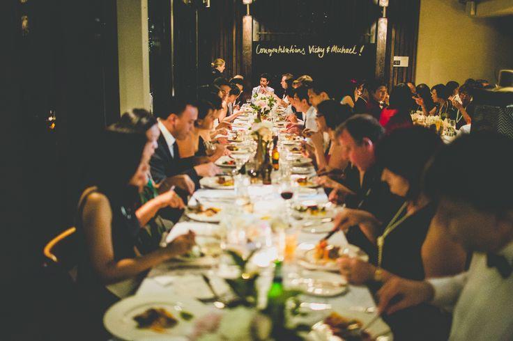 Restaurant style dinner party wedding table