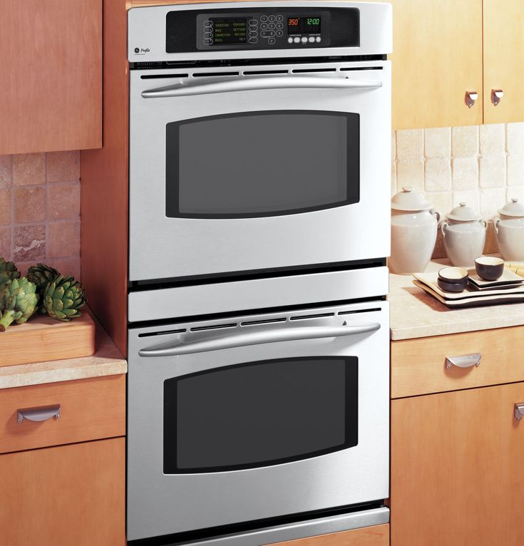 Jt980skss ge profile built in double oven with for Built in oven kitchen cabinets