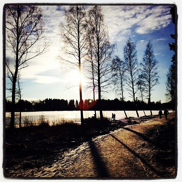 Sognsvann Lake covered with snow