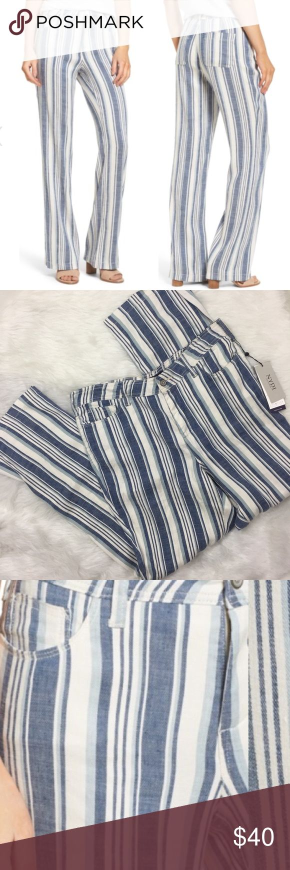 "NYDJ Wylie Striped Linen Blend Pants/trousers Brand new with tags. Plus size 14. Wide-cut legs and variegated vertical stripes add up to figure-elongating style for five-pocket pants fashioned from a stretch-woven linen blend. Of course, NYDJ's exclusive lift-tuck technology helps to flatten the tummy and lift the rear to further the flattery. Petite sizes best fit women 5'4"" & under. - Zip fly with button closure - Five-pocket style - 56% linen, 42% viscose, 2% elastane NYDJ Pants Trousers"