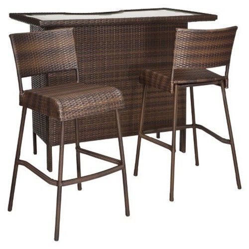 Outdoor Patio Bar Set 3 Piece Furniture Wicker Stools Pool Deck Yard Shelves NEW #RolstonThreshold