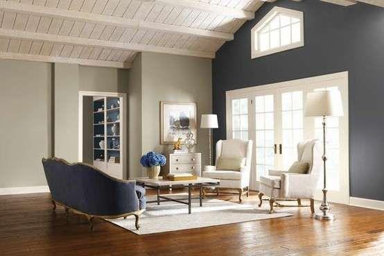 10 idee per il colore delle pareti in soggiorno - Salotto grigio chiaro e scuro