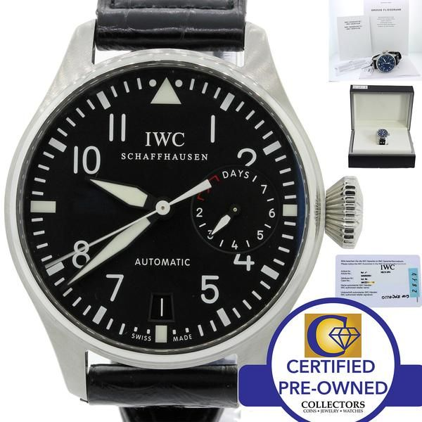 MINT IWC Big Pilot 7 Day Reserve 46mm 5009 5009-01 IW500901 Steel Black Watch w/ Box & Papers Collectors Brand IWC 'International Watch Company' Schaffhause