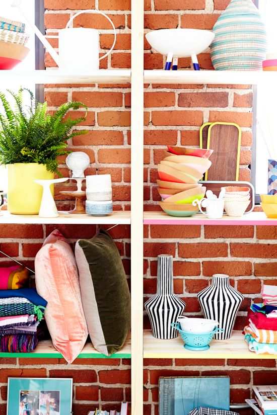 A simple way to make open wooden shelves pop! Paint them with various color paints on the edges. Oh Joy Studio | Design by Emily Henderson | Photo by Zeke Ruelas: Storage Spaces, Wooden Bowls, Joy Studios, Ikea Shelves, Studios Tours, Paintings Colors, Oh Joy, Paintings Shelves, Paintings Shelf