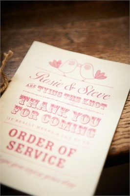 One piece of detail that often gets forgotten about...the order of service