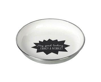 This cheeky aluminium bowl say'sHey Good Looking Fancy A Nibble.  Perfect when entertaining.  Dimensions: W 21cm x L 21 cm x D 3 cm