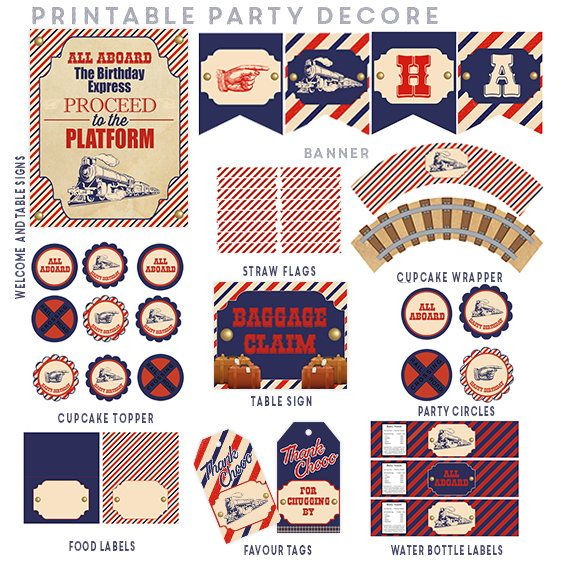 Train Birthday Party Decorations, Vintage Train Party Decorations Printable, Choo choo Train Party Package, Train Party Supplies by ArtisanGalore on Etsy