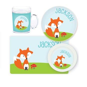 Fox Personalised Kids Mealtime Set $32.95 - $39.95 #sweetcreations #baby #toddlers #kids #personalised