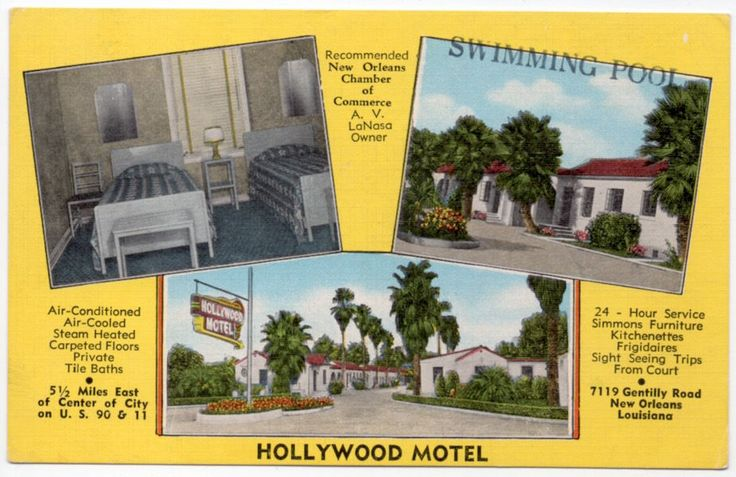 Linen Postcard Multiple Views Hollywood Motel in New Orleans, Louisiana~107043