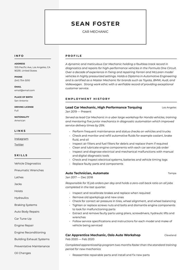 Car mechanic resume sample in 2020 resume guide server