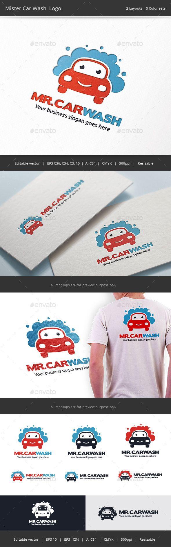 Car body sticker design eps - Mister Car Wash Logo Design Template Vector Logotype Download It Here Http