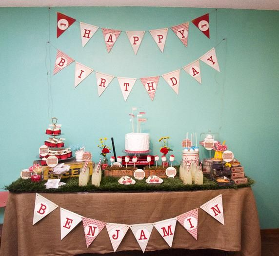 "Planning my baby's 1st birthday party.  ""Little Red Wagon"" is on the list of possibilities.  Thinking that this a sign that I should do this theme.  A 1st red wagon birthday party for a boy named Benjamin...: 1Stbirthday, Birthday Parties, 1St Birthday, Red Wagon, Parties Ideas, Vintage Red, Wagon Parties, Desserts Tables, Birthday Ideas"