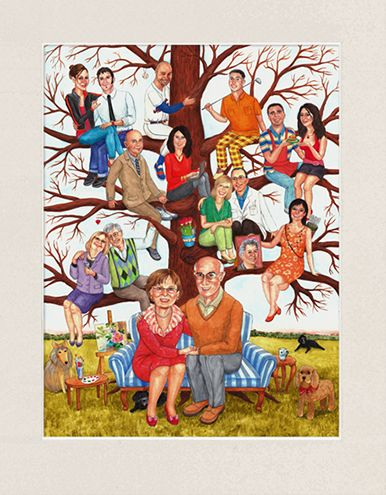 A fun family tree painting created from the photos of the family members as a surprise gift for a couple's 60th wedding anniversary.   Family tree features the couple seated together at the base of the tree with all of their family members placed above them on the tree branches.  Family tree paintings make truly memorable and one-of-a-kind gifts for weddings, wedding anniversaries, birthdays, or any other special occasions. #60thweddinganniversarygiftideasforparents #meaningfulgiftparents