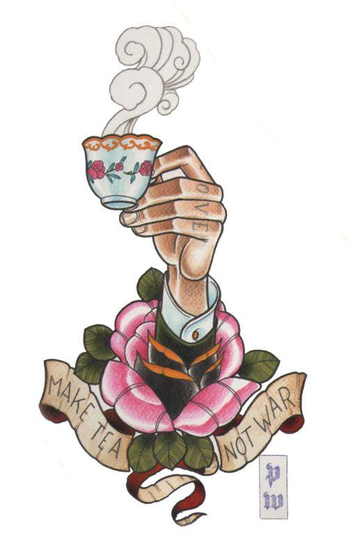 pedro wong, tattoo, flash, intenze inks, watercolor, hand, rose, tea cup, knuckles. Tea Tattoo Flash