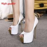 16cm extreme peep toe high heels women platform heels pumps white wedding shoes sexy pink pumps women shoes heels 34-40 Y918