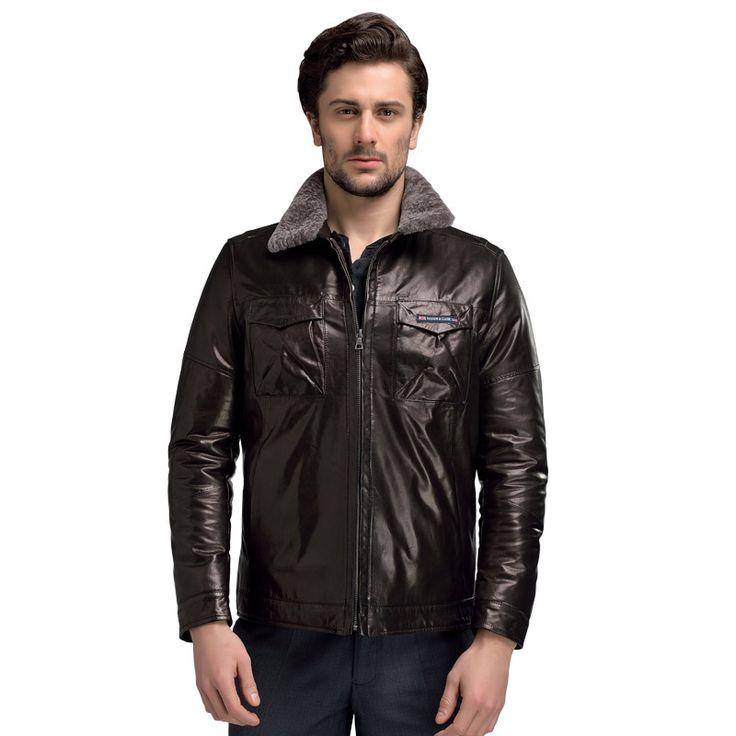 Brand New 100% Genuine Sheepskin Mens Shearling Coats Black Fashion Leather Thicken Jacket Turn Down Lamb Wool Collar 58605