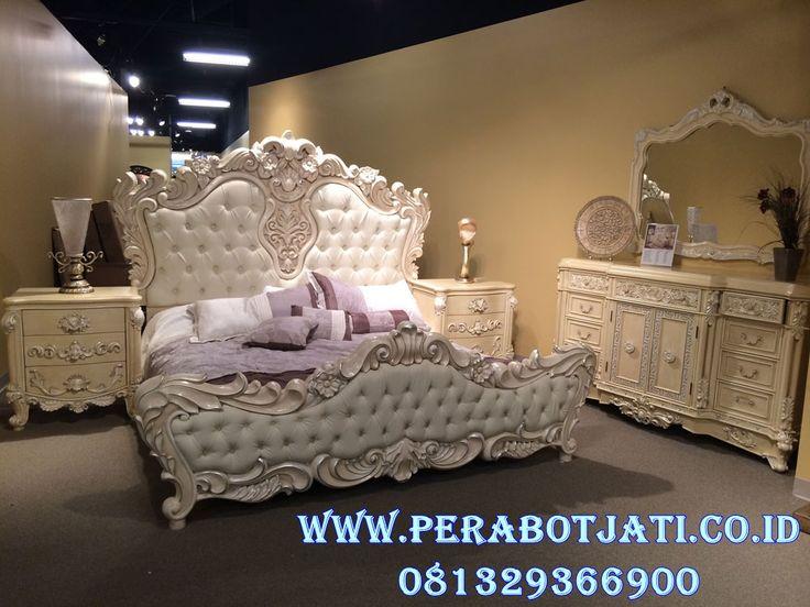 Jual Set Tempat Tidur Klasik Putih | Ranjang Tidur Ukir